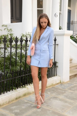 How to wear: gold watch, pink fur clutch, beige suede heeled sandals, light blue tuxedo dress
