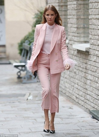How to wear: black leather pumps, pink culottes, pink turtleneck, pink blazer