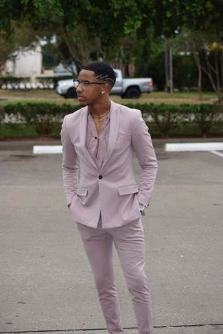 How to wear: silver watch, pink dress pants, pink henley shirt, pink blazer