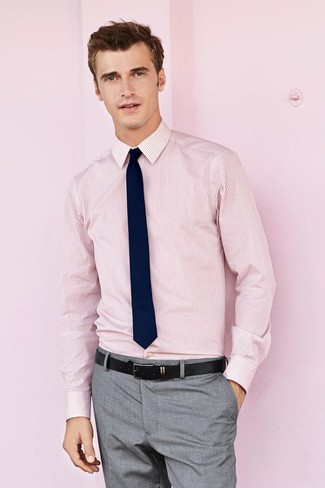 How To Wear Grey Dress Pants With a Pink Shirt | Men's Fashion