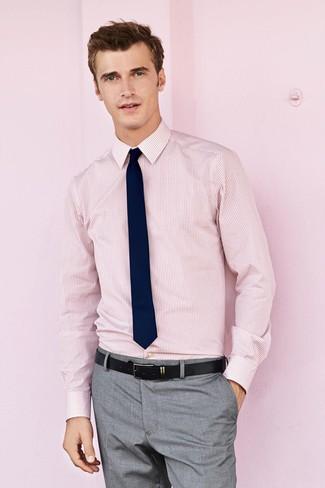How to wear: pink vertical striped dress shirt, grey dress pants, navy tie, black leather belt