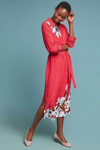 How to wear: pink earrings, pink suede pumps, red floral shirtdress