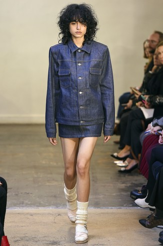 How to wear: white wool socks, pink leather heeled sandals, navy denim mini skirt, navy denim jacket