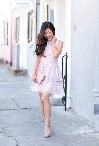 How to wear: pink leather clutch, beige leather pumps, light violet lace fit and flare dress