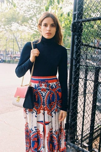 How to wear: pink leather crossbody bag, white and red and navy print maxi skirt, black turtleneck