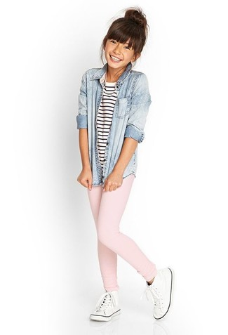 How to wear: white sneakers, pink leggings, white and navy horizontal striped t-shirt, light blue denim long sleeve shirt