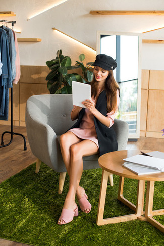 How to wear: black flat cap, pink suede mules, pink shift dress, black sleeveless blazer