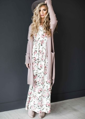 How to wear: pink open cardigan, white floral maxi dress, grey suede chelsea boots, grey hat