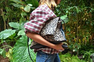 How to wear: pink plaid button down blouse, blue jeans, leopard leather handbag