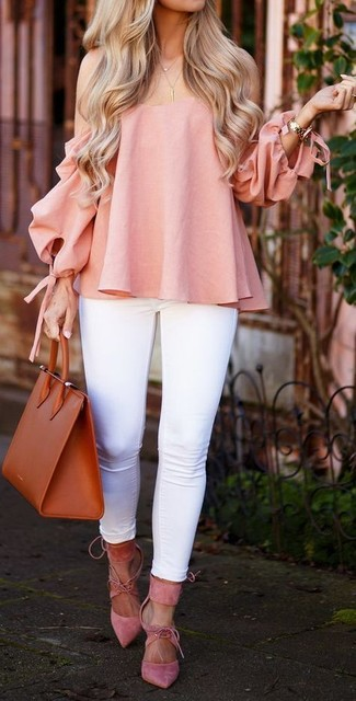How to wear: tobacco leather tote bag, pink suede pumps, white skinny jeans, pink off shoulder top