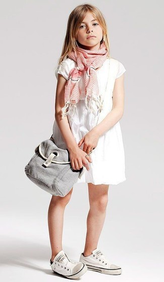 How to wear: pink scarf, white sneakers, white dress