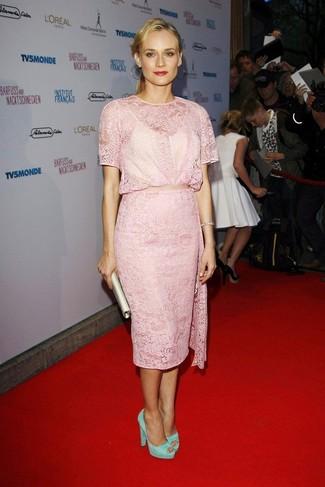 How to wear: pink lace sheath dress, mint suede pumps, beige satin clutch, silver bracelet