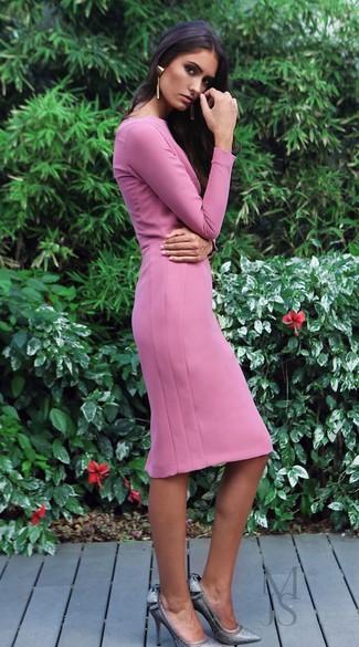 How to wear: pink sheath dress, silver sequin pumps, gold earrings