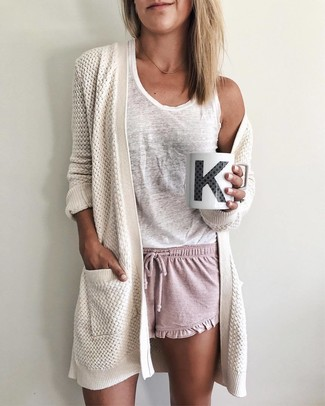 How to wear: pink shorts, white tank, white knit open cardigan