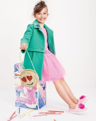 How to wear: gold bag, pink sneakers, pink tulle dress, green coat