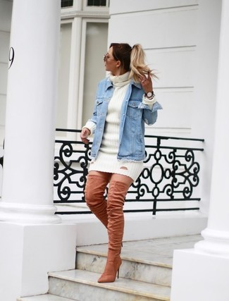 How to wear: pink suede over the knee boots, white sweater dress, light blue denim jacket