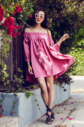 Women's Looks & Outfits: What To Wear In 2020: Reach for a hot pink off shoulder dress for a knockout and trendy look. Why not take a dressier approach with footwear and choose a pair of charcoal suede heeled sandals?