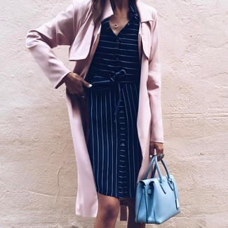 A pink trenchcoat and a New Look women's Venus Mini Bowler Handbag Light Blue are appropriate for both smart casual events and day-to-day wear. Mastering springtime fashion is easy with outfit inspo like this.
