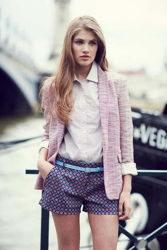 How to wear: pink tweed jacket, white dress shirt, navy print shorts, light blue leather belt