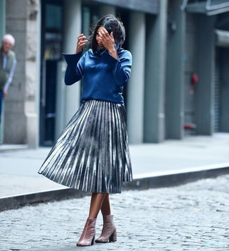 How to wear: pink velvet ankle boots, silver pleated midi skirt, blue long sleeve blouse