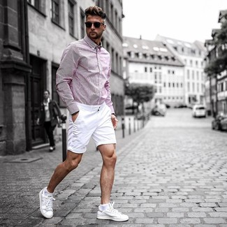How to wear: pink vertical striped long sleeve shirt, white shorts, white leather low top sneakers