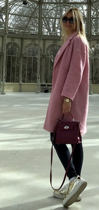 How to wear: purple leather crossbody bag, gold leather platform loafers, navy skinny jeans, pink coat