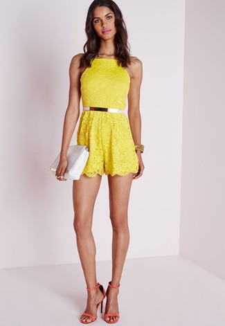 Women's Yellow Lace Playsuit, Orange Leather Heeled Sandals, White Leather Clutch, Pink Leather Belt