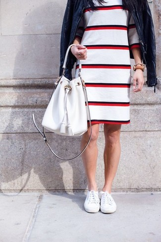 How to wear: white leather bucket bag, white plimsolls, white and red horizontal striped sheath dress, navy leather bomber jacket