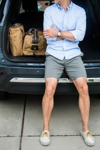 How To Wear a Light Blue Long Sleeve Shirt With Grey Shorts For Men ... 0d1d349cd1ebf