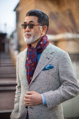 How to wear: burgundy print scarf, blue pocket square, blue dress shirt, white tweed blazer
