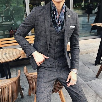 How to wear: navy print silk scarf, white pocket square, dark green dress shirt, charcoal check three piece suit