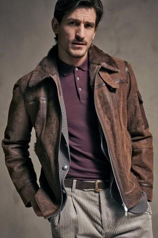 How to wear: beige corduroy jeans, burgundy polo, grey gingham blazer, dark brown shearling jacket