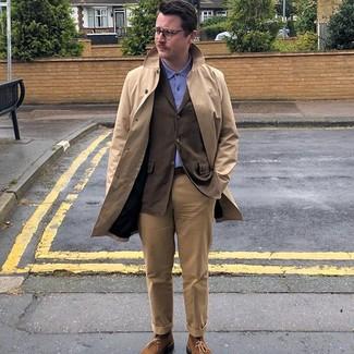 How to wear: khaki chinos, blue polo, dark brown blazer, tan trenchcoat