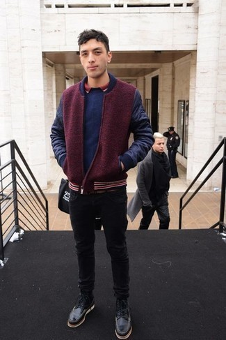 How to Wear a Navy Crew-neck Sweater For Men: This pairing of a navy crew-neck sweater and black jeans is the perfect base for a great number of dapper outfits. If you wish to easily step up your look with shoes, introduce black leather casual boots to the mix.