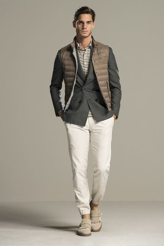 How to wear: white chinos, grey horizontal striped polo, charcoal double breasted blazer, brown quilted gilet