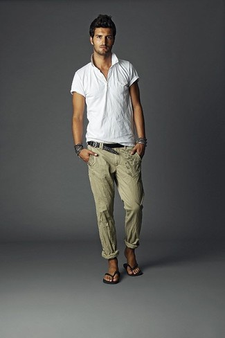 How to wear: white polo, olive linen dress pants, black flip flops, black woven leather belt