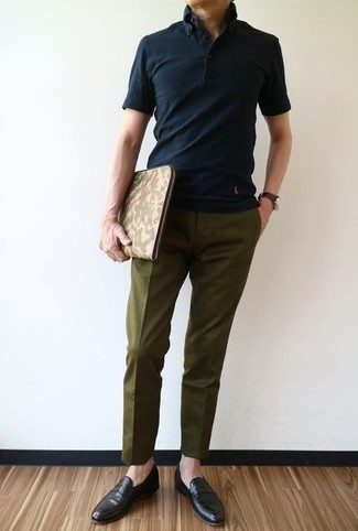 How to wear: black polo, olive dress pants, dark brown leather loafers, olive camouflage leather zip pouch