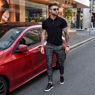 How to wear: black polo, charcoal check dress pants, black leather low top sneakers, black sunglasses