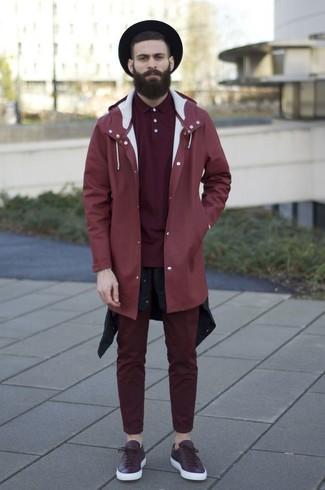 How to wear: burgundy chinos, burgundy polo, black long sleeve shirt, red raincoat