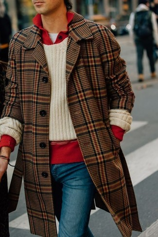 How to wear: white crew-neck t-shirt, red polo neck sweater, beige knit crew-neck sweater, brown plaid overcoat