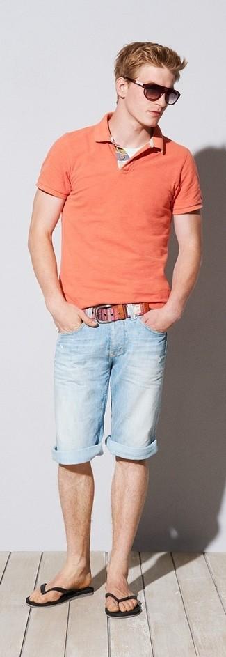 How to wear: orange polo, light blue denim shorts, black flip flops, pink canvas belt