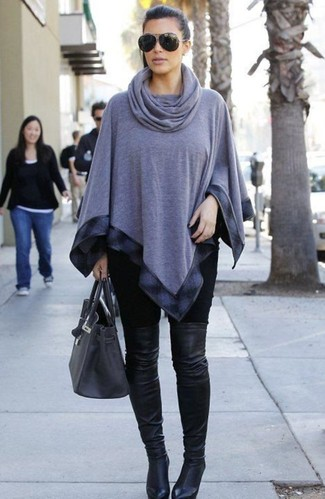 Kim Kardashian wearing Grey Poncho, Black Leggings, Black Leather Over The Knee Boots, Charcoal Leather Tote Bag