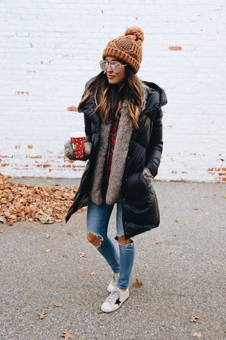 How to wear: black puffer coat, red plaid dress shirt, light blue ripped skinny jeans, white leather low top sneakers