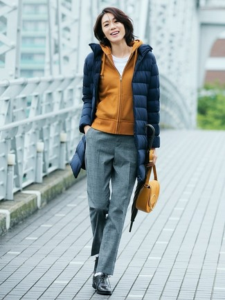 How to wear: navy puffer coat, mustard hoodie, white crew-neck t-shirt, grey wool dress pants