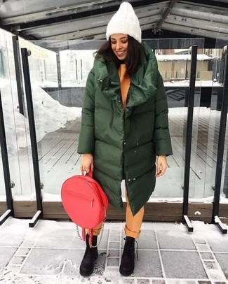 How to wear: dark green puffer coat, orange sweatshirt, orange chinos, dark brown chunky nubuck lace-up flat boots
