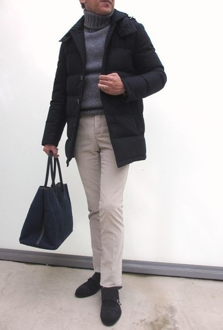 How to wear: black puffer coat, grey knit turtleneck, beige chinos, dark brown suede double monks