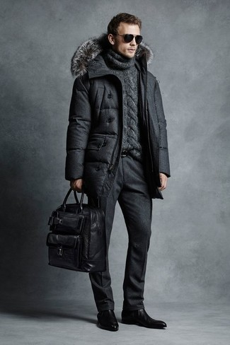 How to wear: charcoal puffer coat, charcoal knit turtleneck, black wool dress pants, black leather chelsea boots