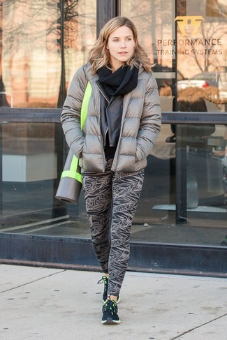 Women's Grey Puffer Jacket, Black Leather Biker Jacket, Black Print Leggings, Black Athletic Shoes