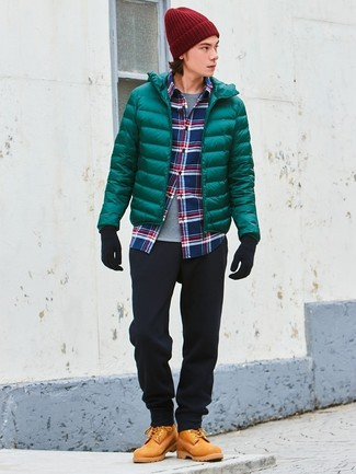 How to wear: green puffer jacket, white and red and navy plaid long sleeve shirt, grey crew-neck t-shirt, black chinos