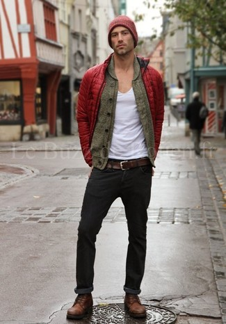 How to wear: red puffer jacket, olive shawl cardigan, white v-neck t-shirt, black jeans